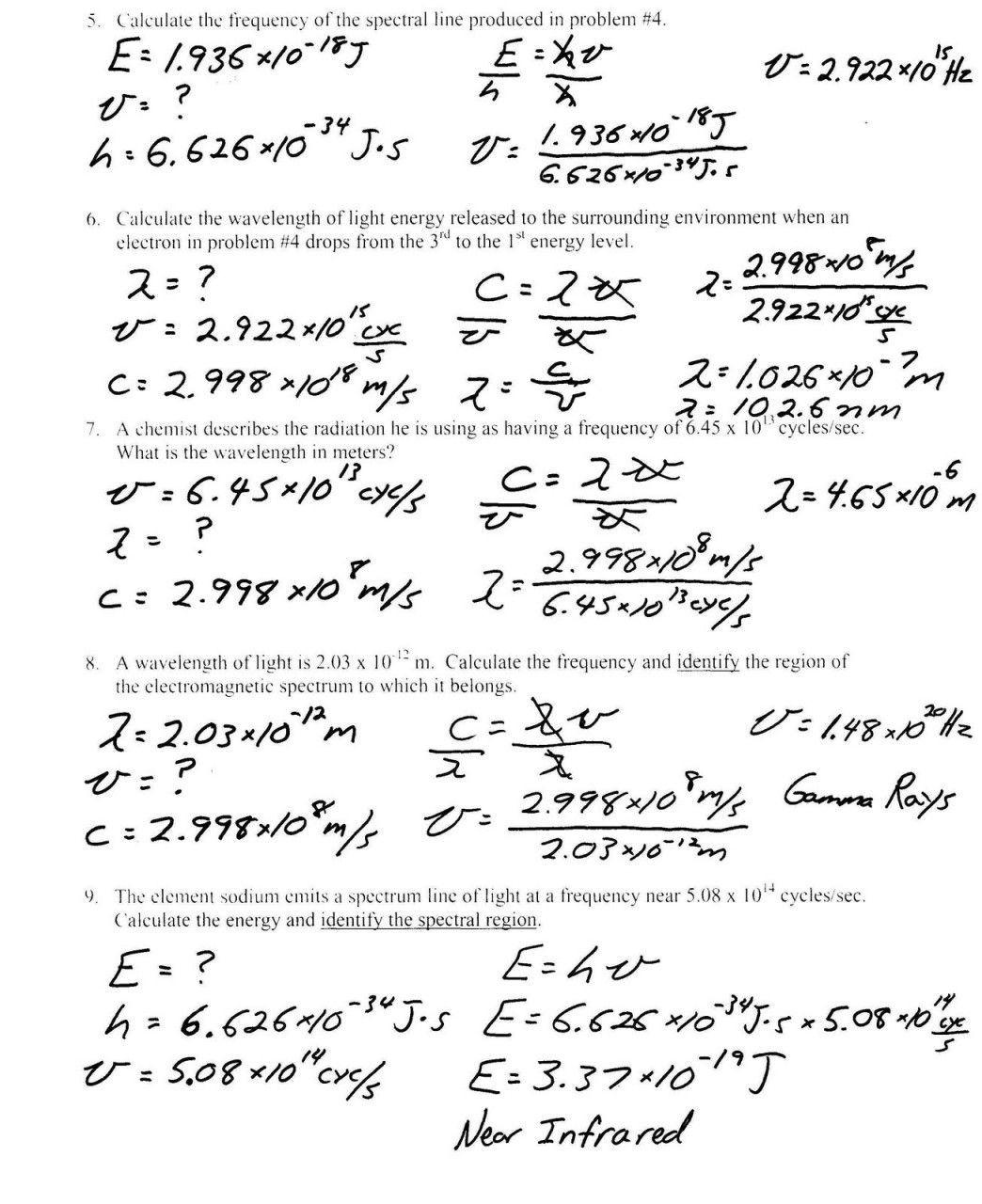 Electromagnetic Spectrum Worksheet Answers Velocity Wavelength Frequency Worksheet