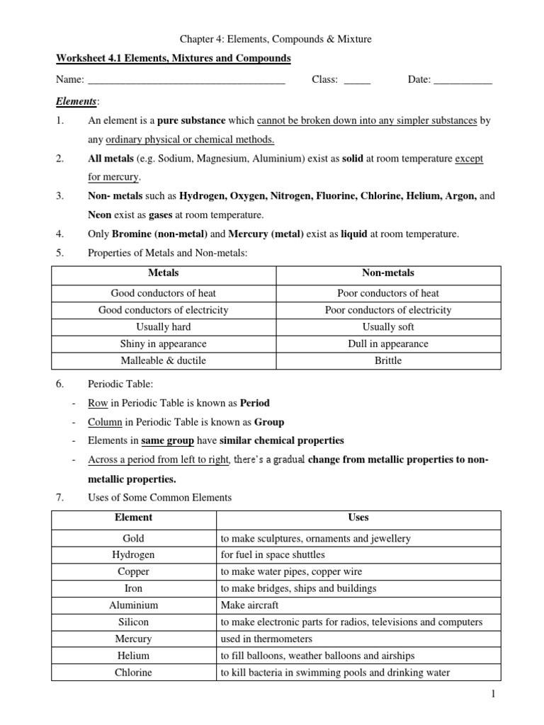 Element Compound Mixture Worksheet Elements Chemical Substances