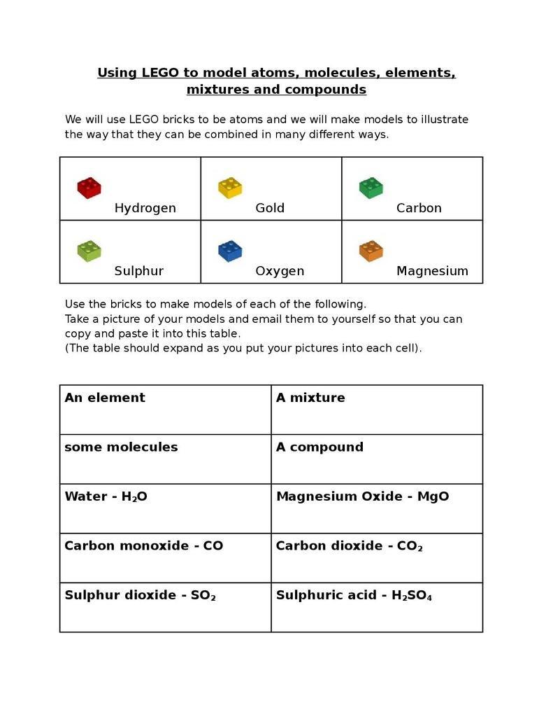 Element Compound Mixture Worksheet Lego atoms Elements Mixtures and Pounds