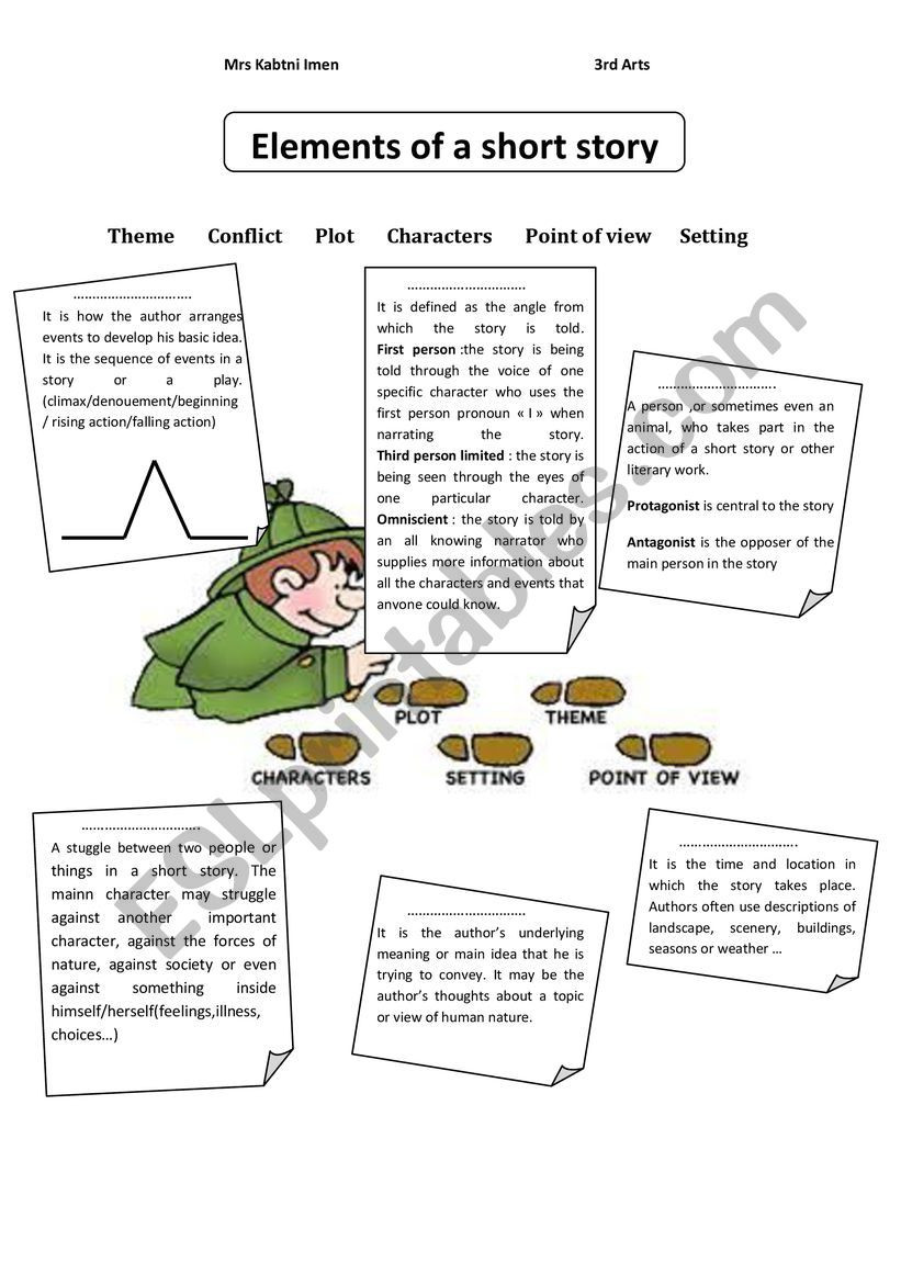 Elements Of A Story Worksheet Elements Of A Short Story Esl Worksheet by Imenk