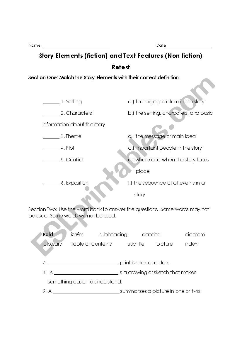 Elements Of A Story Worksheet Elements Of A Story Esl Worksheet by astidum08