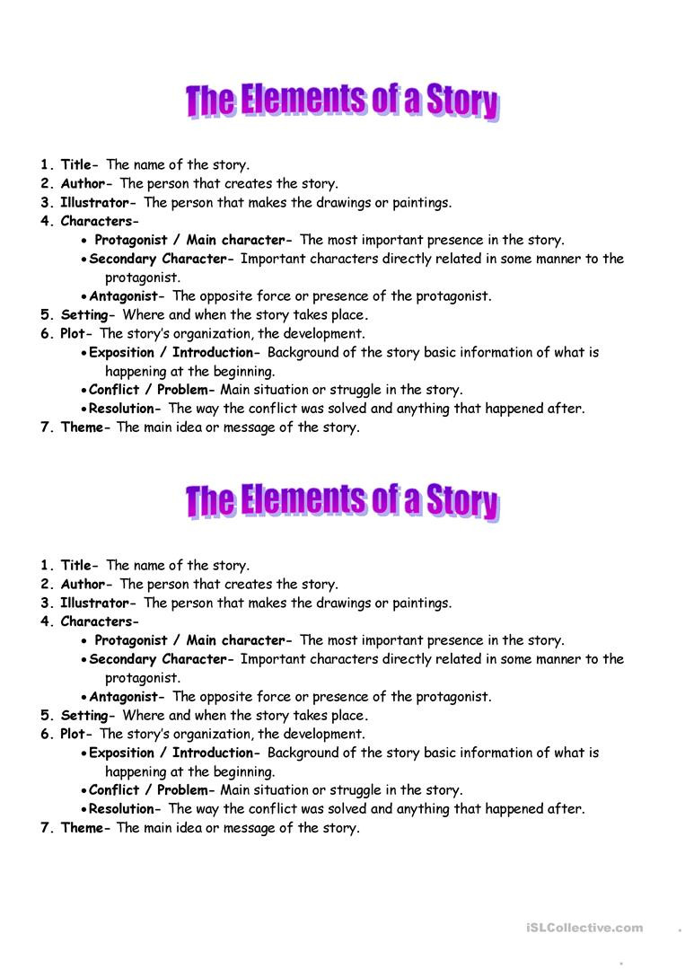 Elements Of A Story Worksheet Elements Of the Story English Esl Worksheets for Distance