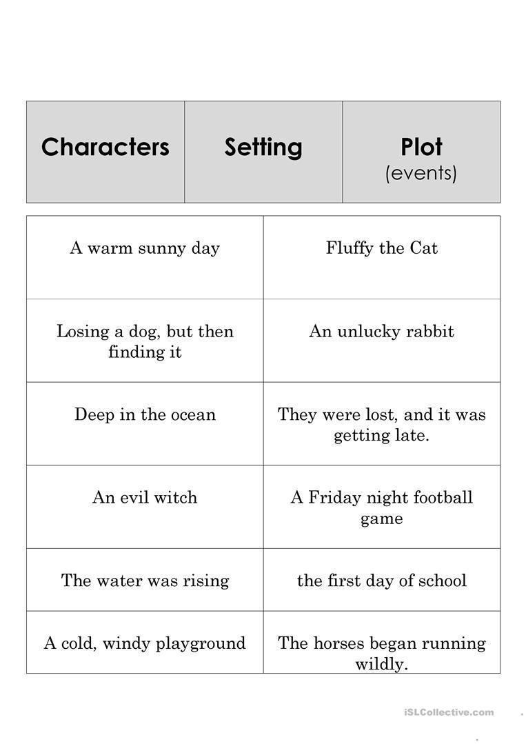 Elements Of A Story Worksheet English Esl Story Elements Worksheets Most Ed 9