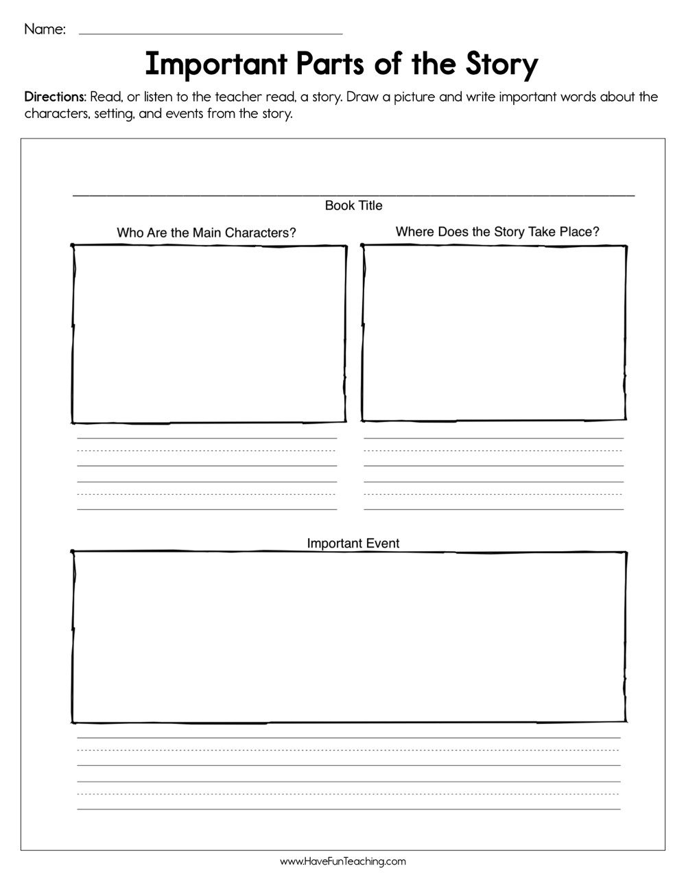 Elements Of A Story Worksheet Important Parts Of the Story Worksheet