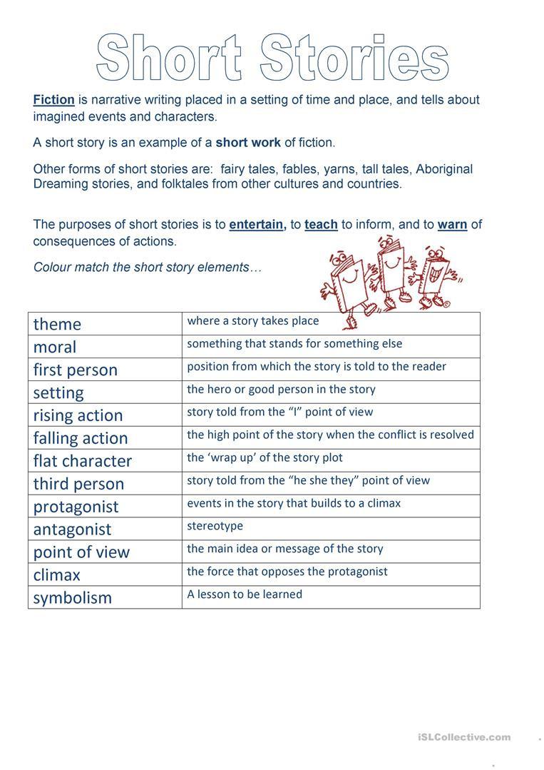 Elements Of A Story Worksheet Short Story Elements English Esl Worksheets for Distance