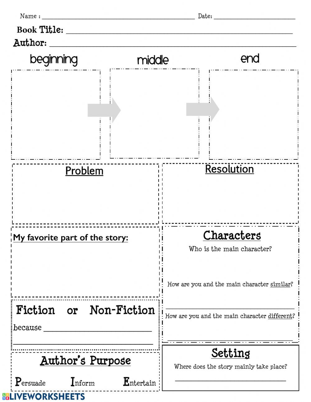 Elements Of A Story Worksheet Story Elements Worksheet