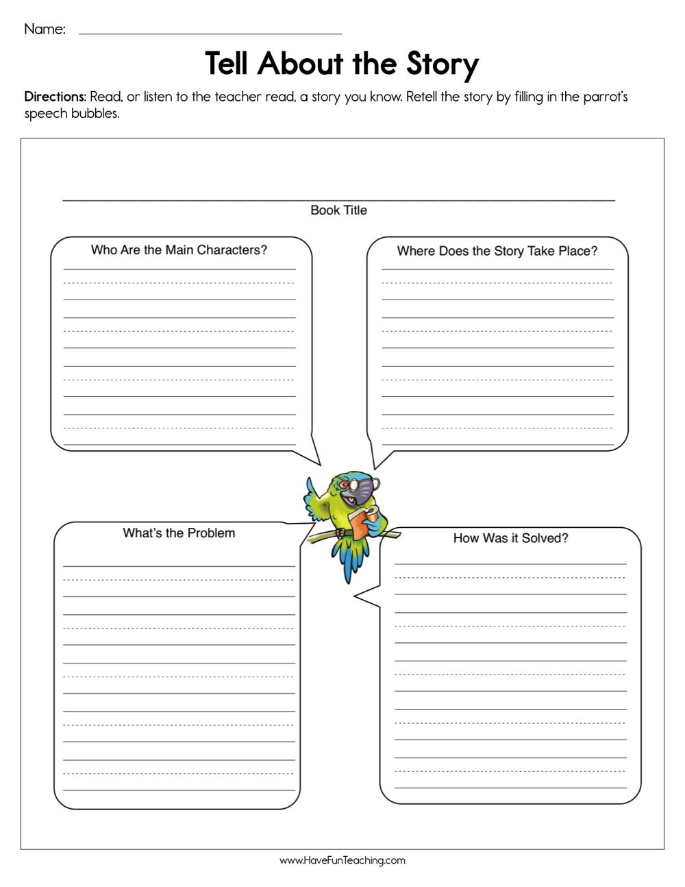 Elements Of A Story Worksheet Tell About the Story Worksheet