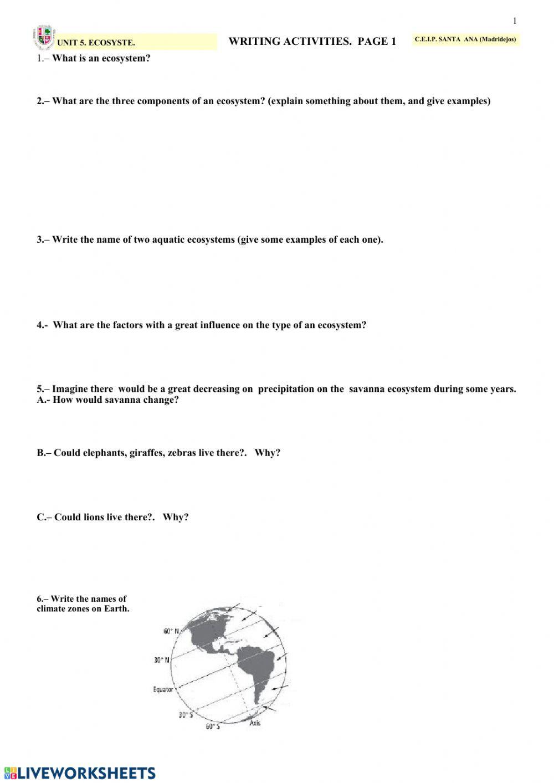 Energy Flow In Ecosystems Worksheet Ecosystems Sheet 1 Interactive Worksheet