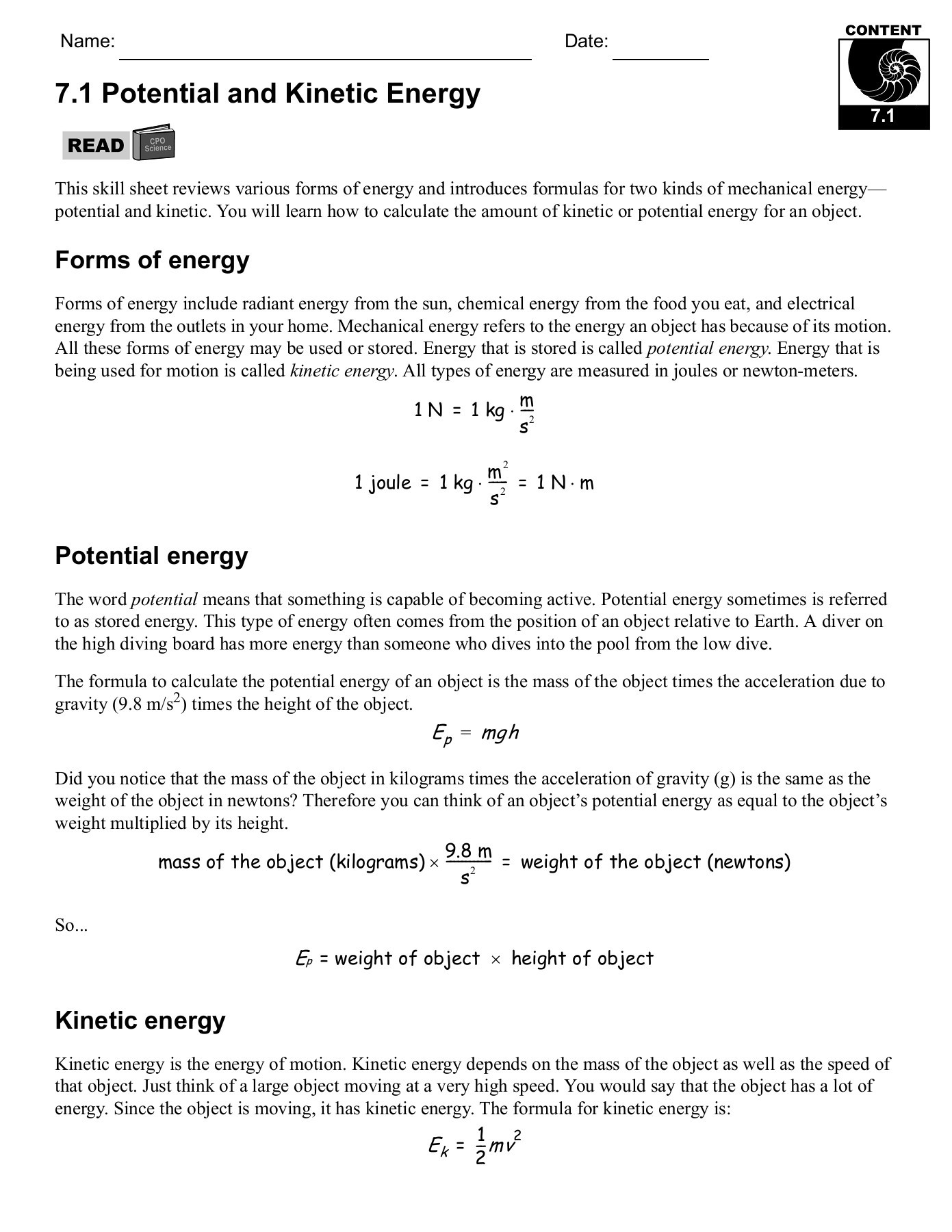 Energy Transformation Worksheet Answer Key 7 1 Potential and Kinetic Energy Cpo Science Pages 1 29