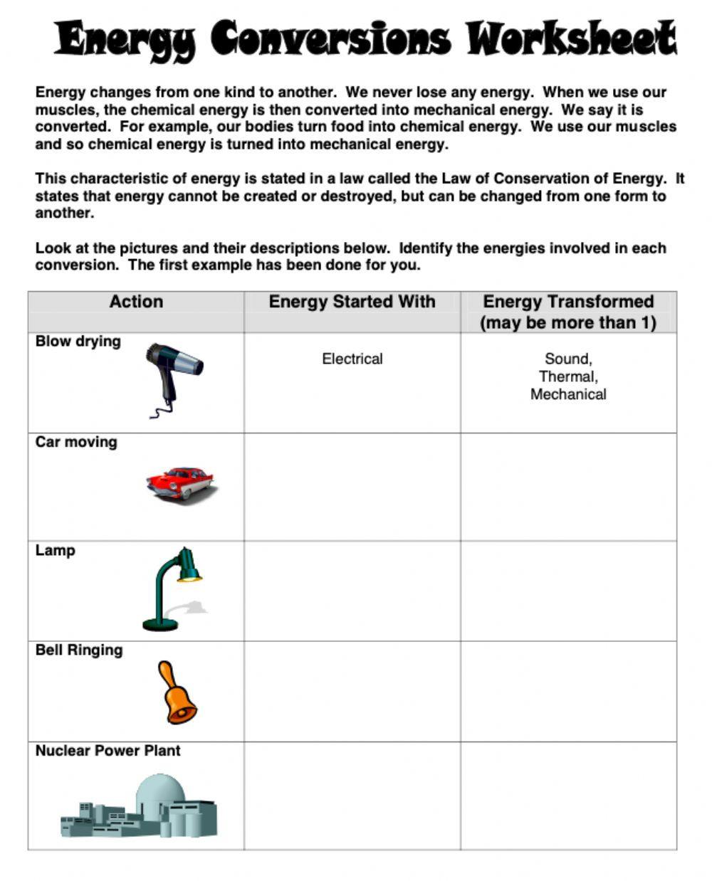 Energy Transformation Worksheet Answer Key Energy Conversions Interactive Worksheet