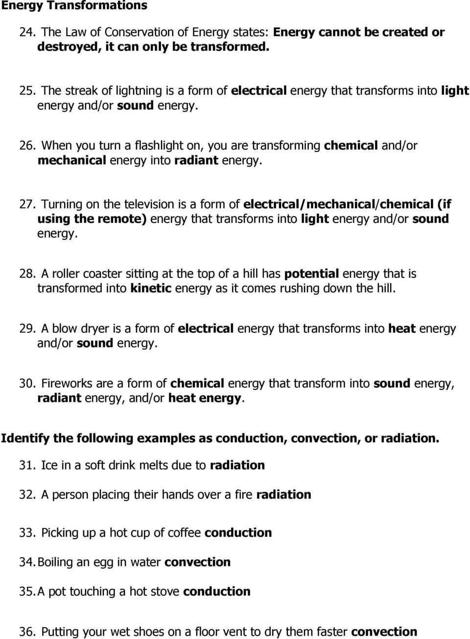 Energy Transformation Worksheet Answer Key Energy Test Study Guide Pdf Free Download