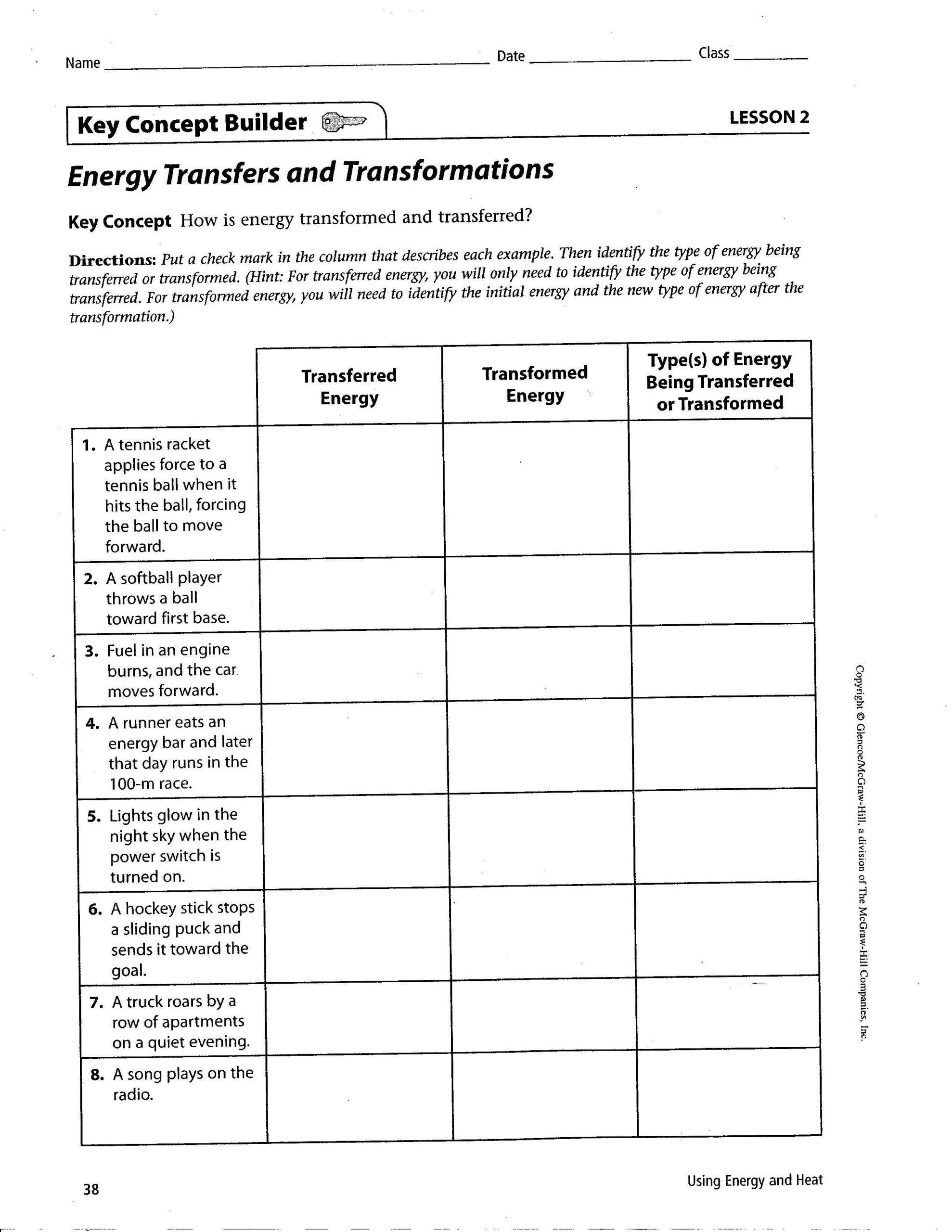 Energy Transformation Worksheet Answer Key Energy Transformation Game Worksheet