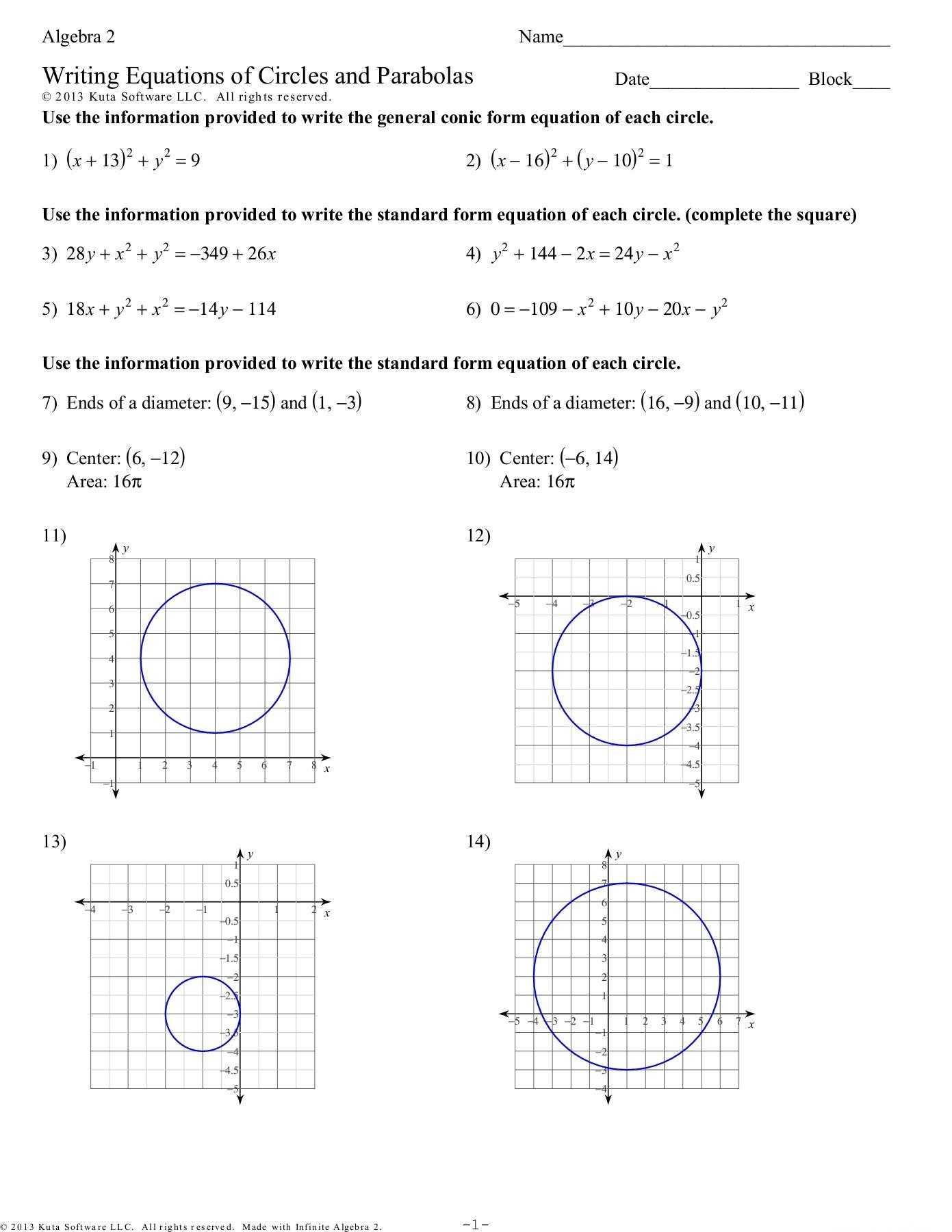 Equations Of Circles Worksheet Algebra 2 Writing Equations Of Circles and Parabolas Pages
