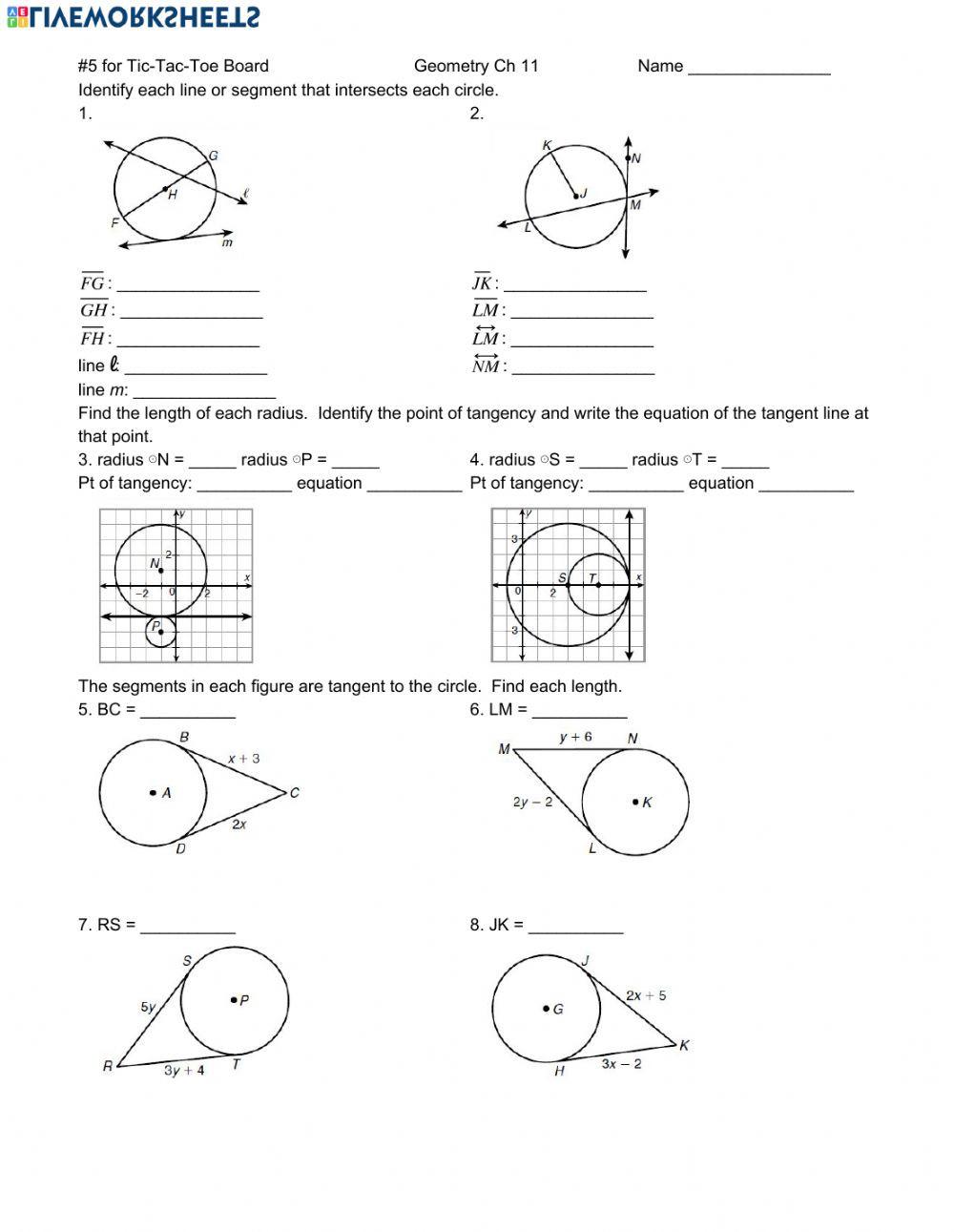 Equations Of Circles Worksheet Circles Interactive Worksheet