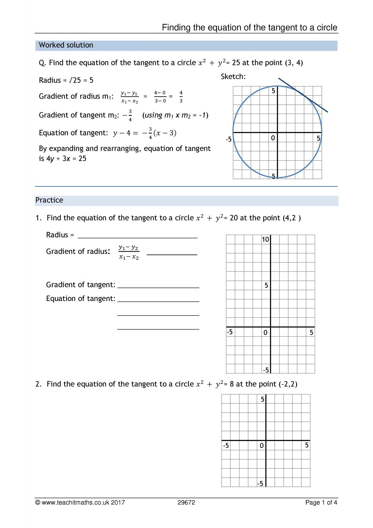 Equations Of Circles Worksheet Circles