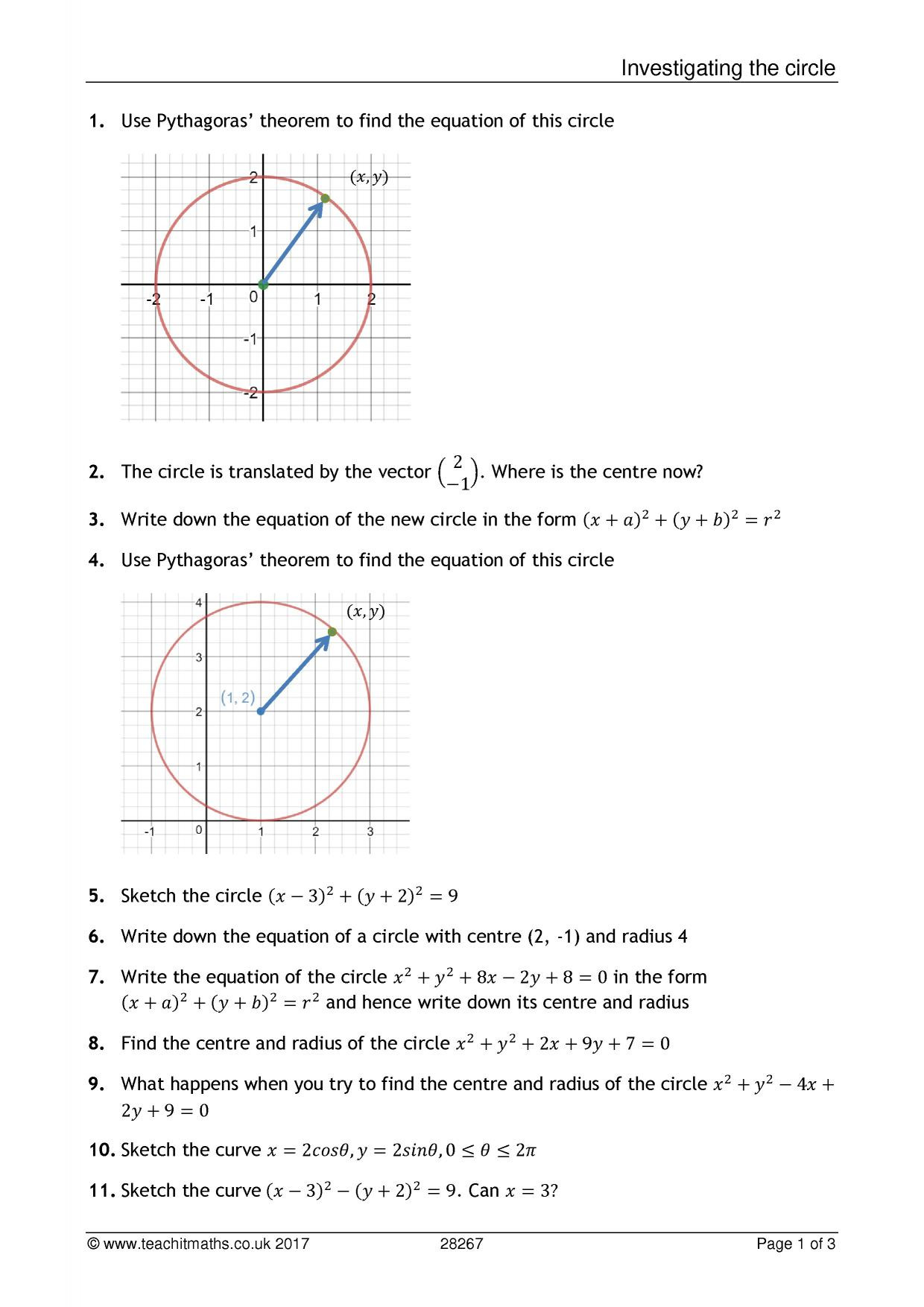 Equations Of Circles Worksheet Circles