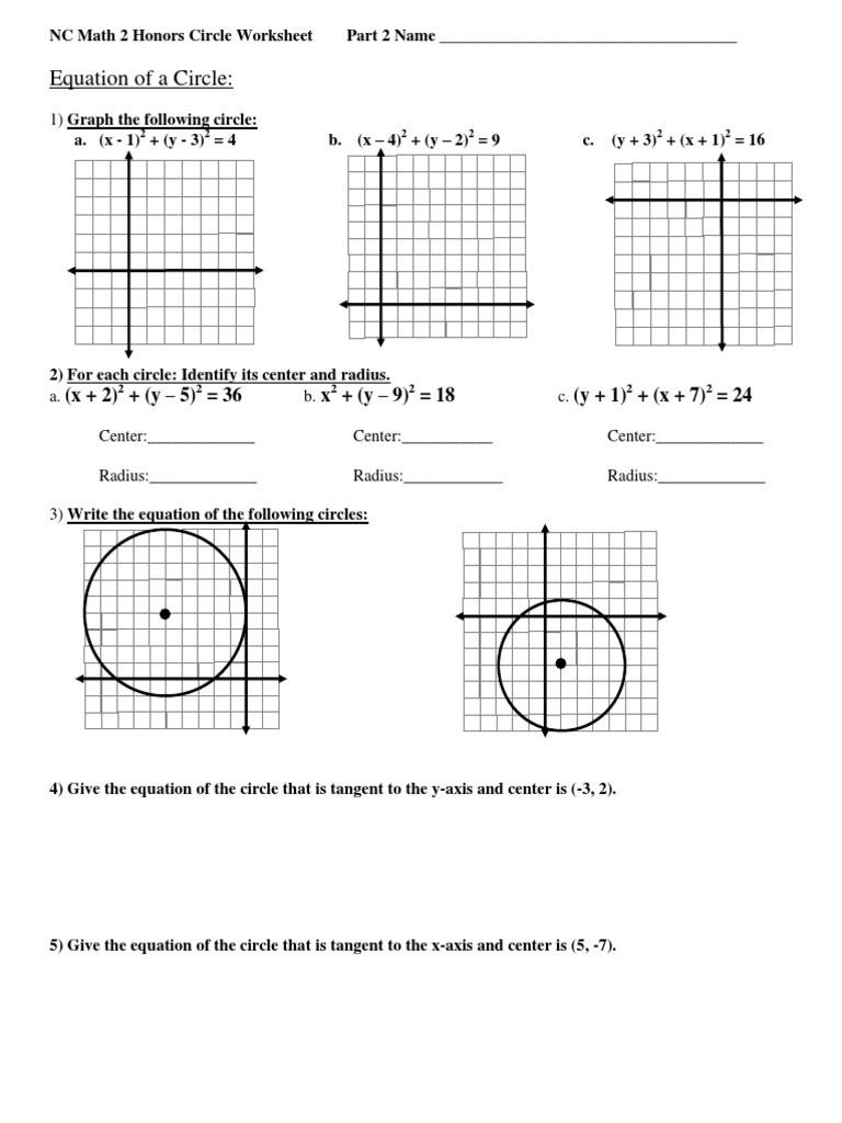 Equations Of Circles Worksheet Equation Of A Circle X 2 Y – 5 = 36 Y – 9 = 18