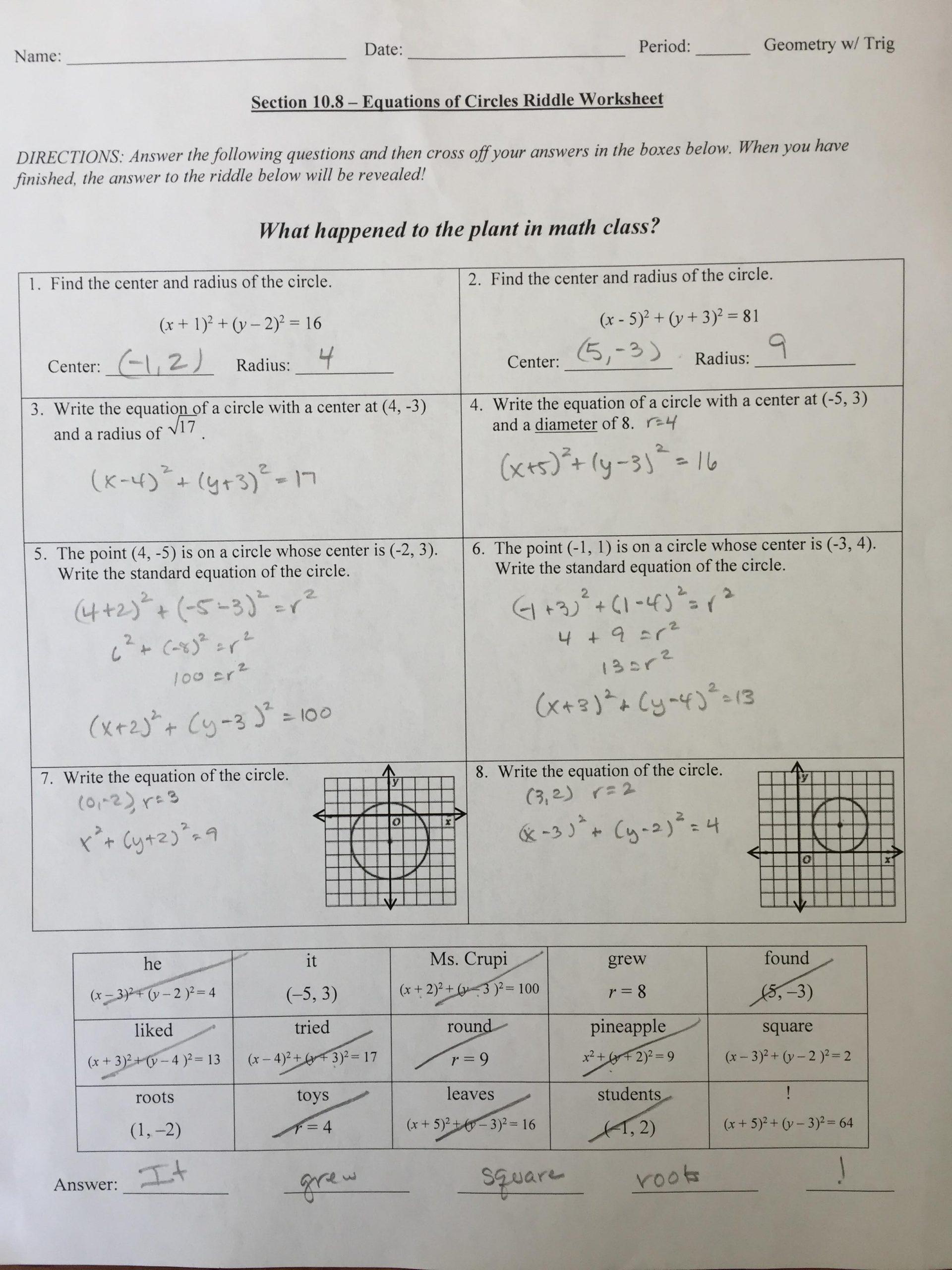 Equations Of Circles Worksheet Equations Circles Worksheet 1 Answers Tessshebaylo