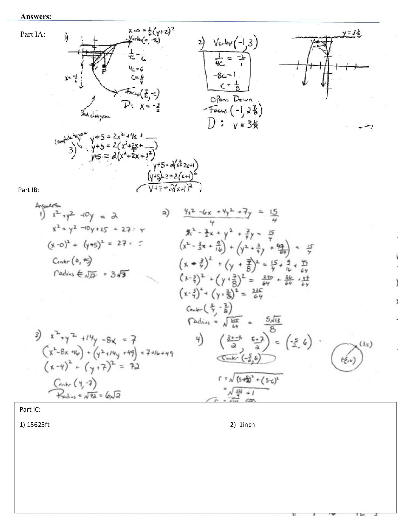 Equations Of Circles Worksheet Name Circles and Parabolas Review Worksheet Pages 1 4