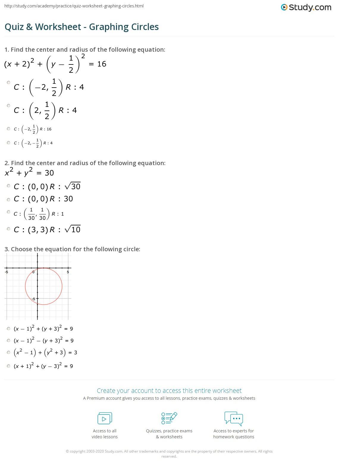 Equations Of Circles Worksheet Quiz & Worksheet Graphing Circles