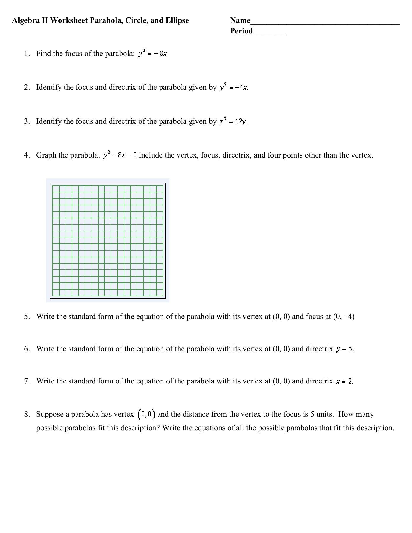 Equations Of Circles Worksheet Standard form Equation A Circle Worksheet