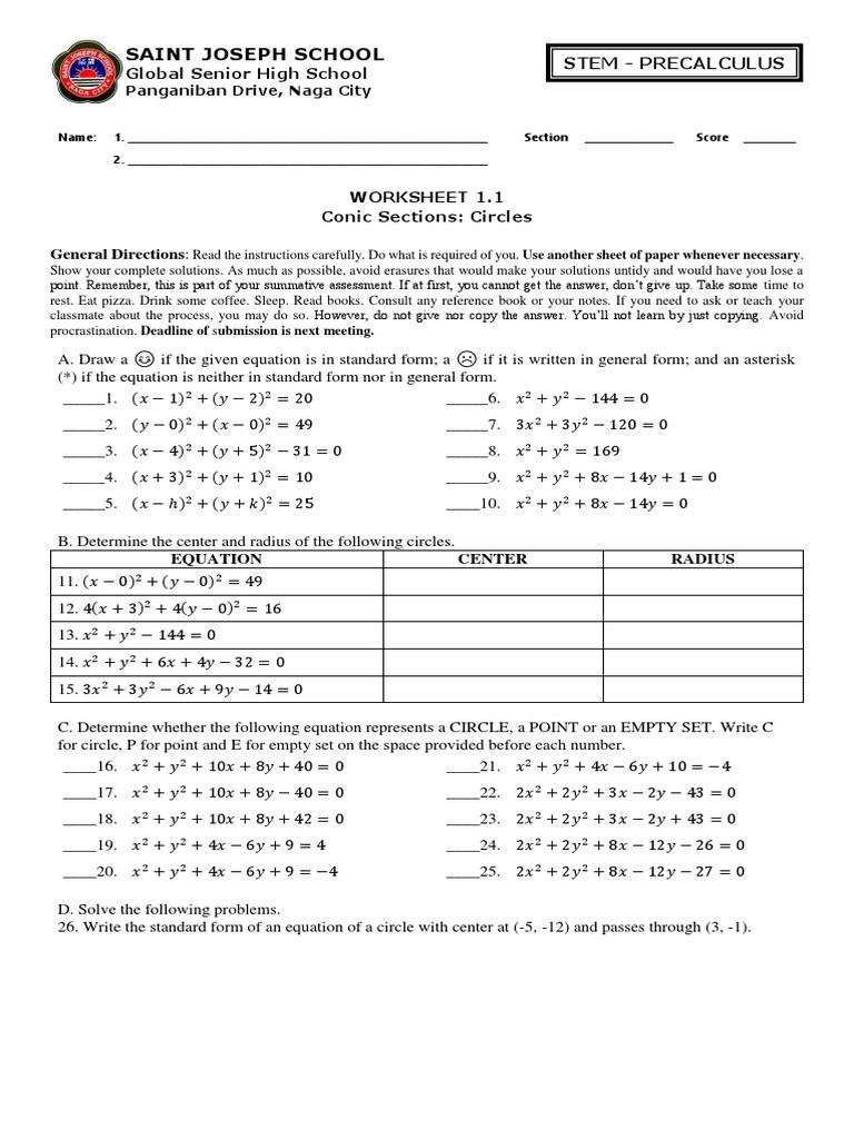 Equations Of Circles Worksheet Worksheet 1 1 Circles Circle