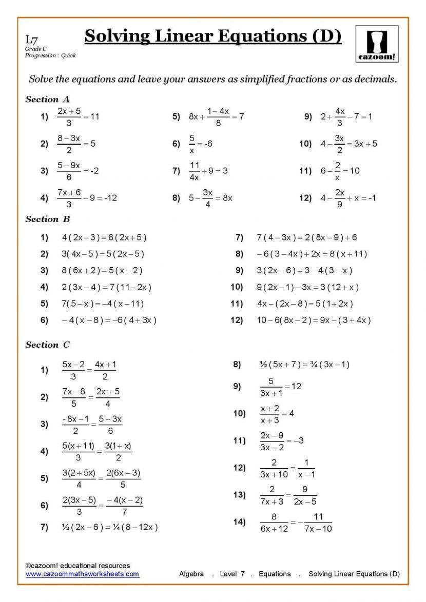 Equations with Fractions Worksheet Ks3 Ks4 Maths Worksheets Printable with Answers Year 7 Math