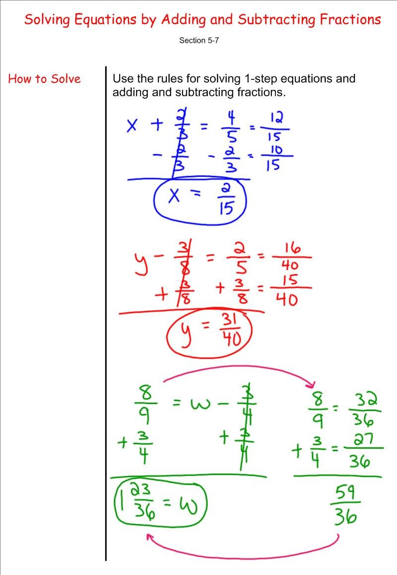 Equations with Fractions Worksheet solving Equations by Adding and Subtracting Fractions 7th