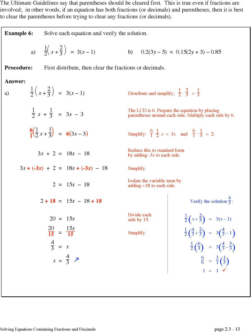 Equations with Fractions Worksheet solving Equations by Clearing Fractions and Decimals