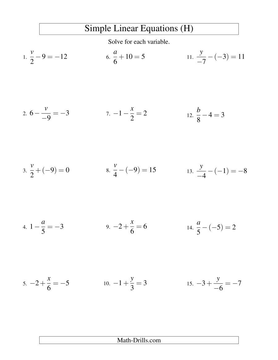 Equations with Fractions Worksheet solving Multi Step Equations Variables Both Sides