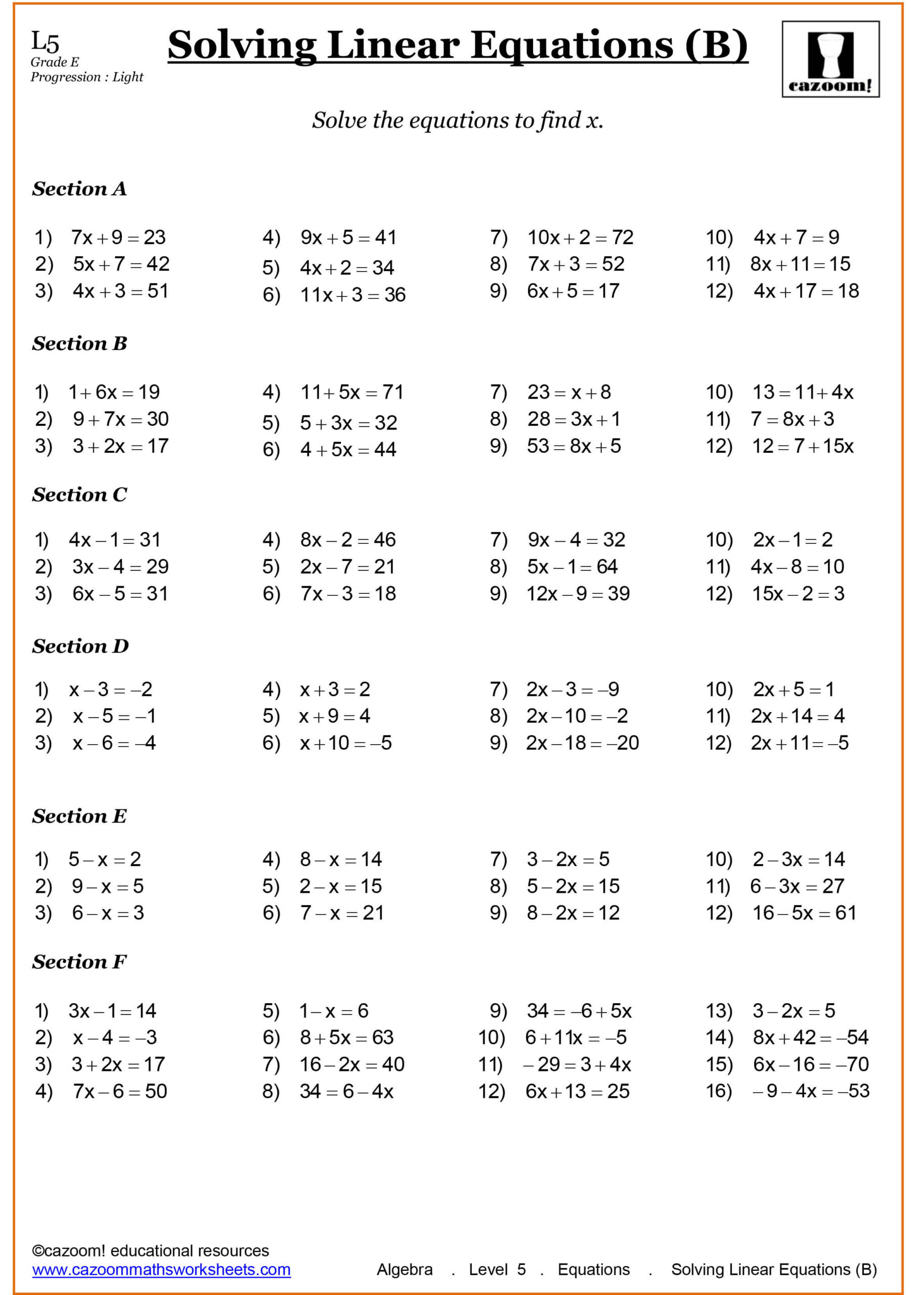 Equations with Fractions Worksheet Year Maths Worksheets Cazoom Grade Advanced Math Algebra