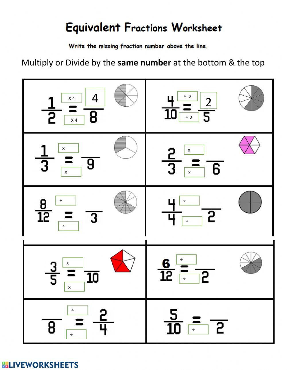 Equivalent Fractions Worksheet Pdf Equivalent Fractions Interactive Worksheet