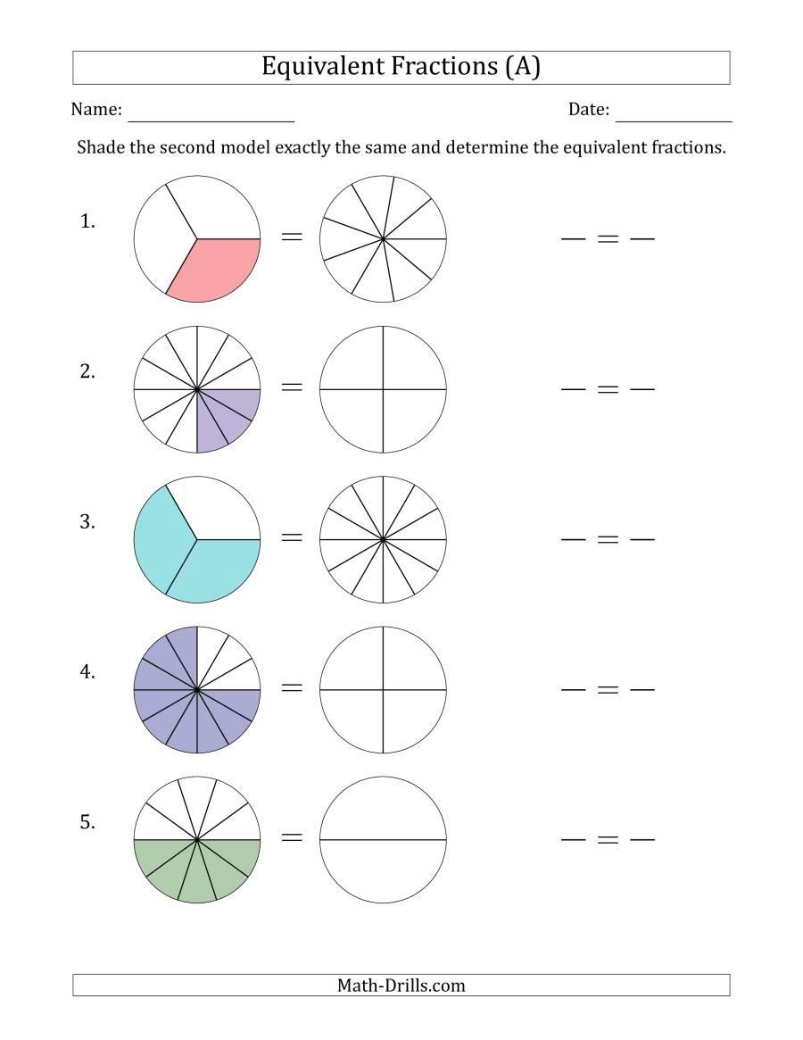 Equivalent Fractions Worksheet Pdf Equivalent Fractions Models A
