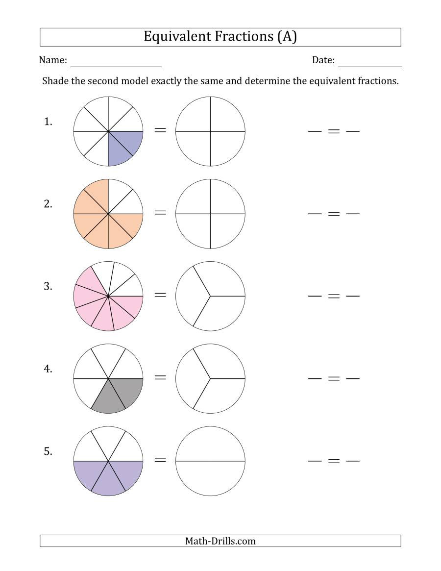 Equivalent Fractions Worksheet Pdf Equivalent Fractions Models with the Simplified Fraction