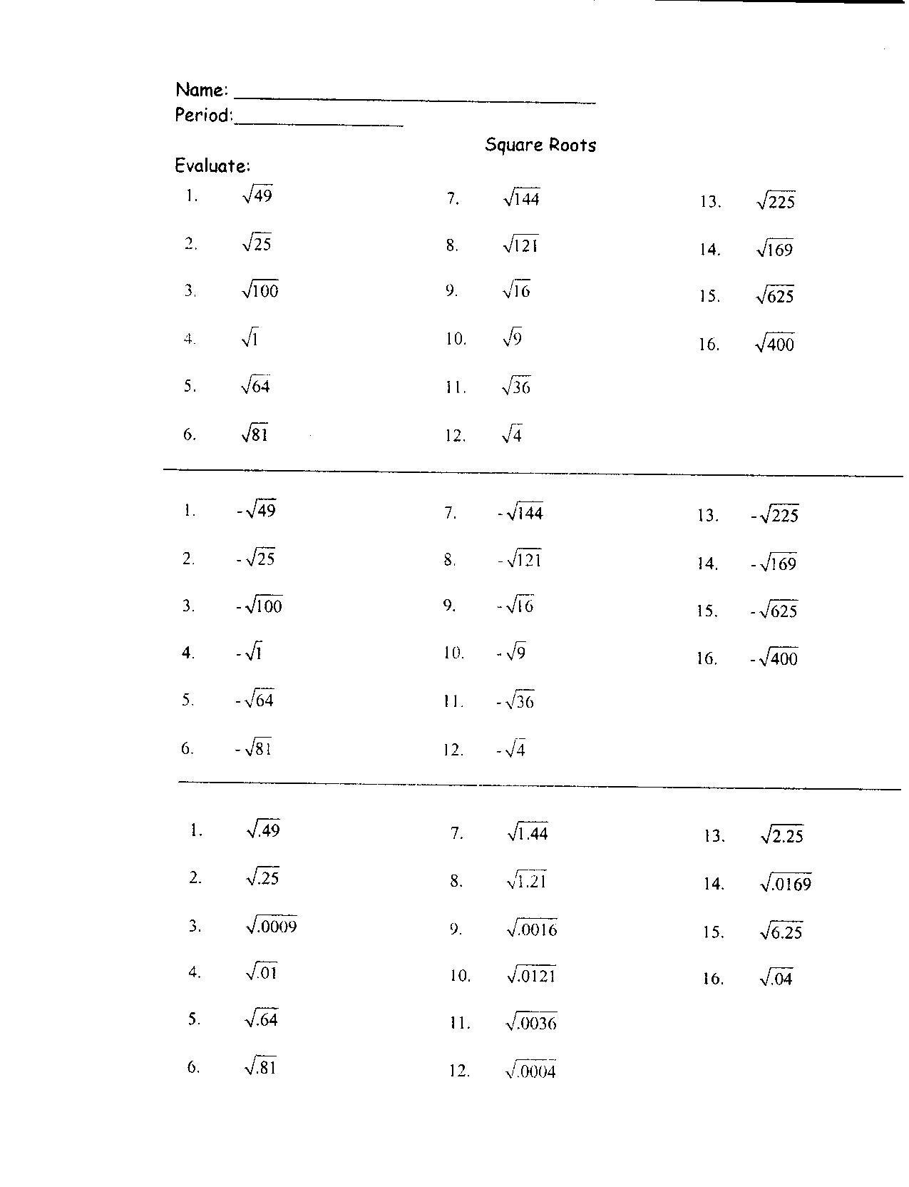 Estimating Square Root Worksheet 31 Perfect Square Roots Worksheet Worksheet Resource Plans