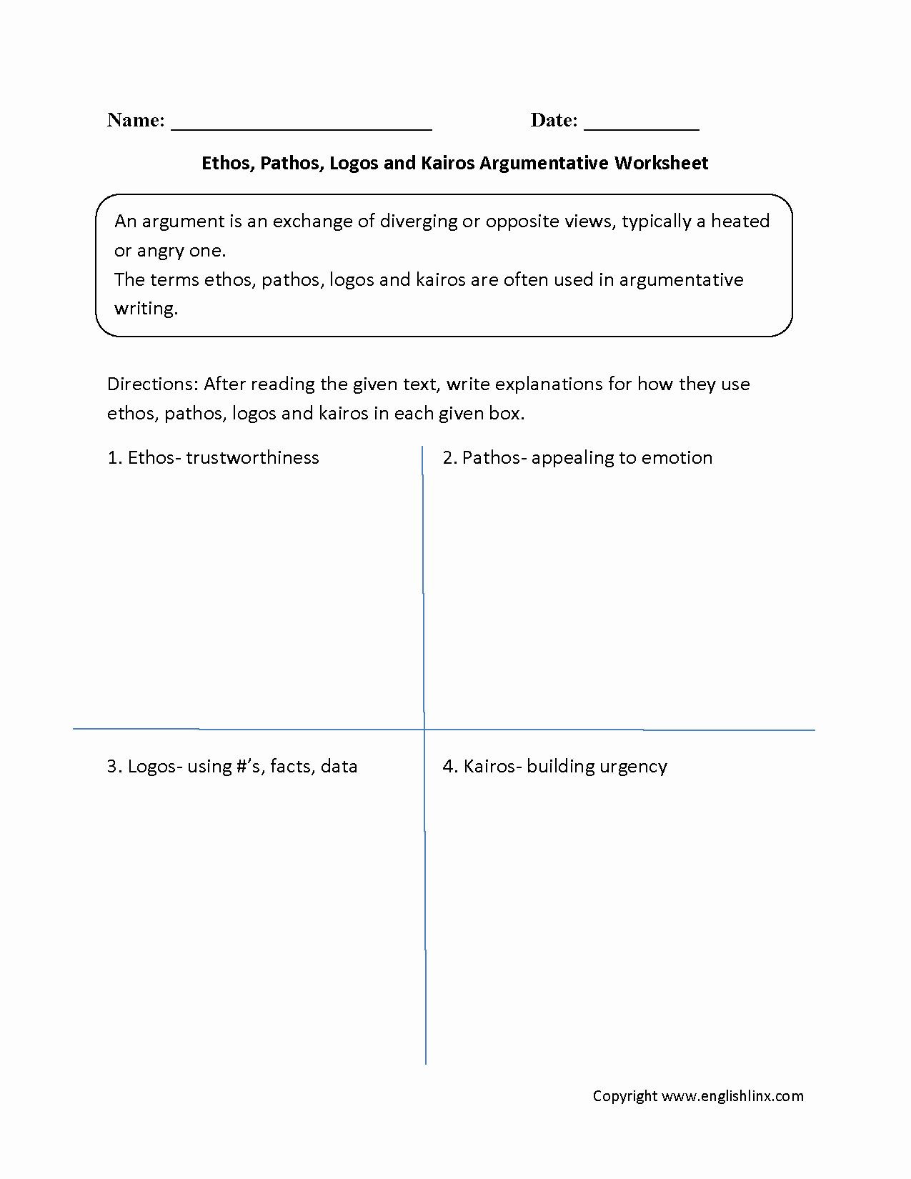 Ethos Pathos Logos Worksheet 50 Ethos Pathos Logos Worksheet Answers In 2020