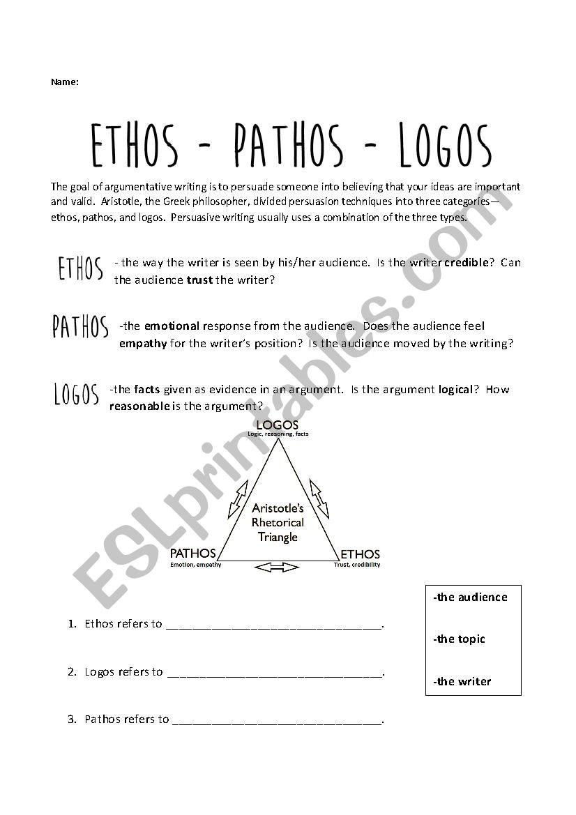Ethos Pathos Logos Worksheet Ethos Pathos Logos Esl Worksheet by Jess Ica