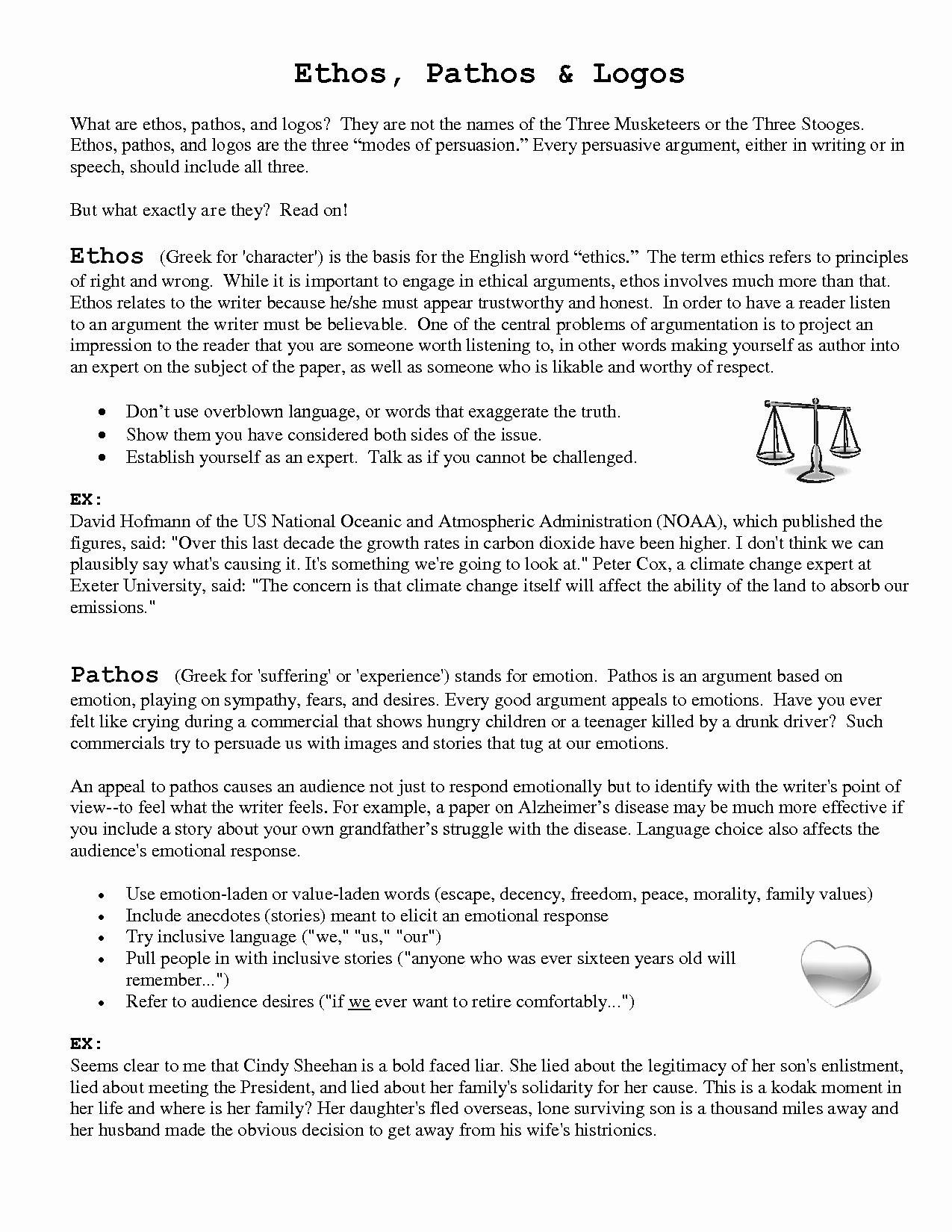 Ethos Pathos Logos Worksheet Ethos Pathos Logos Practice Worksheet Search