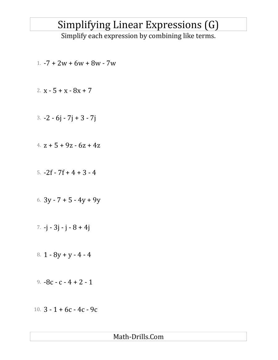 Evaluating Algebraic Expressions Worksheet 31 Simplifying Linear Expressions Worksheet Worksheet