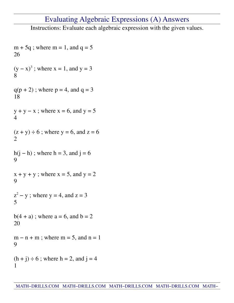 Evaluating Algebraic Expressions Worksheet Evaluating Algebraic Expressions A