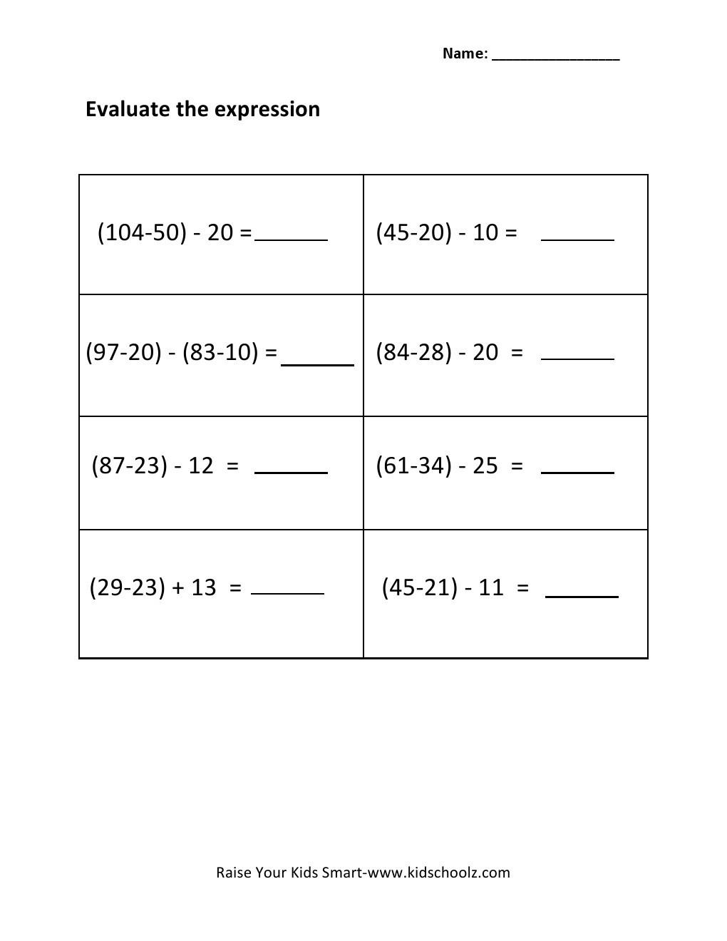 Evaluating Algebraic Expressions Worksheet Grade 3 Evaluating Algebraic Expressions Worksheet 3