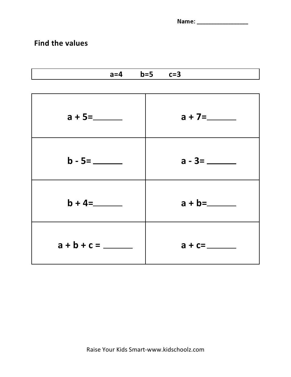 Evaluating Algebraic Expressions Worksheet Grade 3 Evaluating Algebraic Expressions Worksheet 7