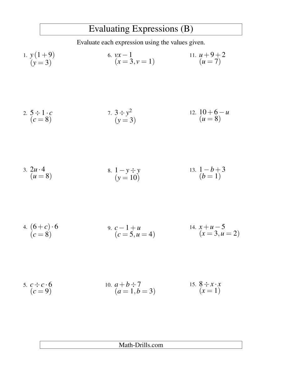 Evaluating Algebraic Expressions Worksheet the Evaluating Two Step Algebraic Expressions with Two