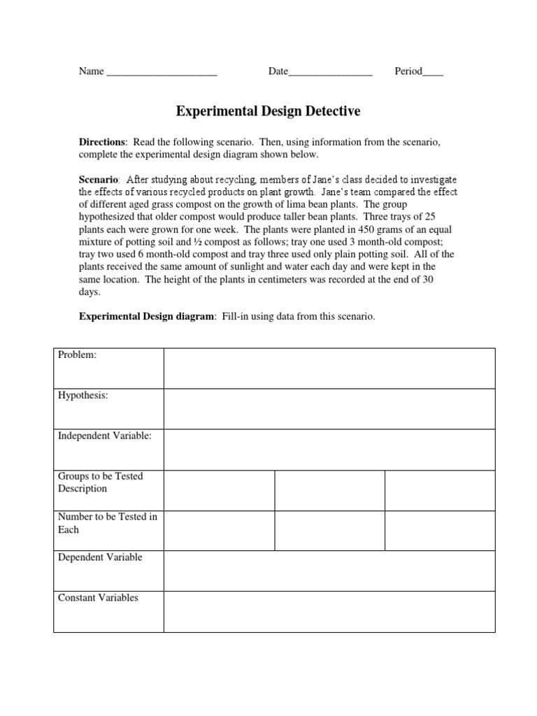 Experimental Design Worksheet Answers Experimental Design Detective and Variables Practice