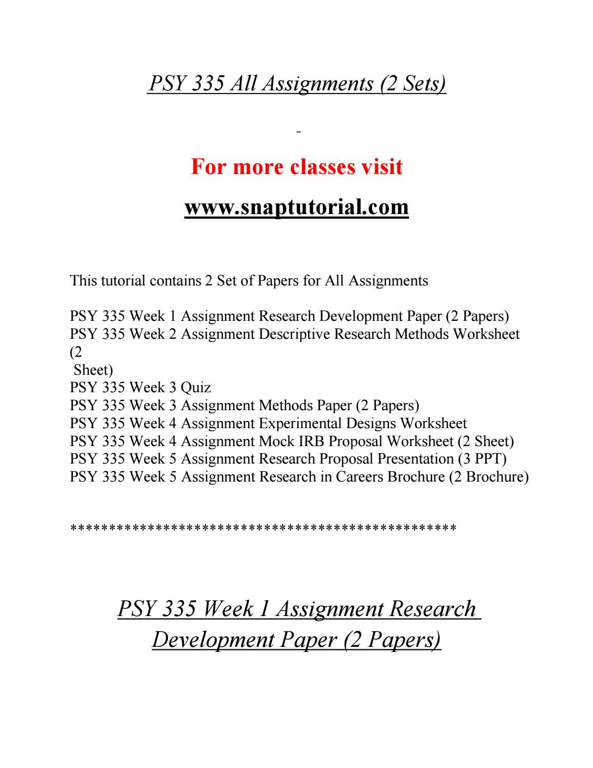 Experimental Design Worksheet Answers Psy 335 Enhance Teaching Snaptutorial by Harrisgeorg65