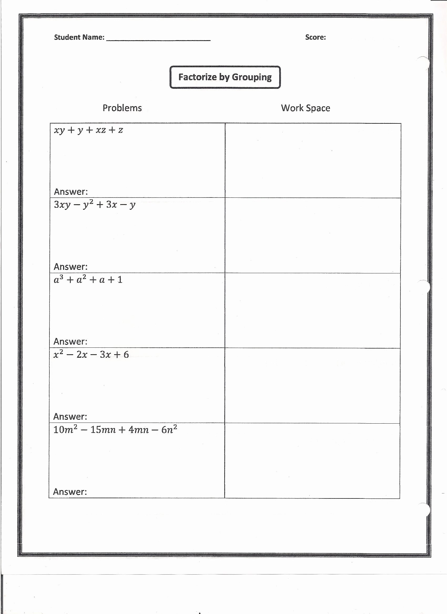 Factoring by Grouping Worksheet Factoring Puzzle Worksheet Answers