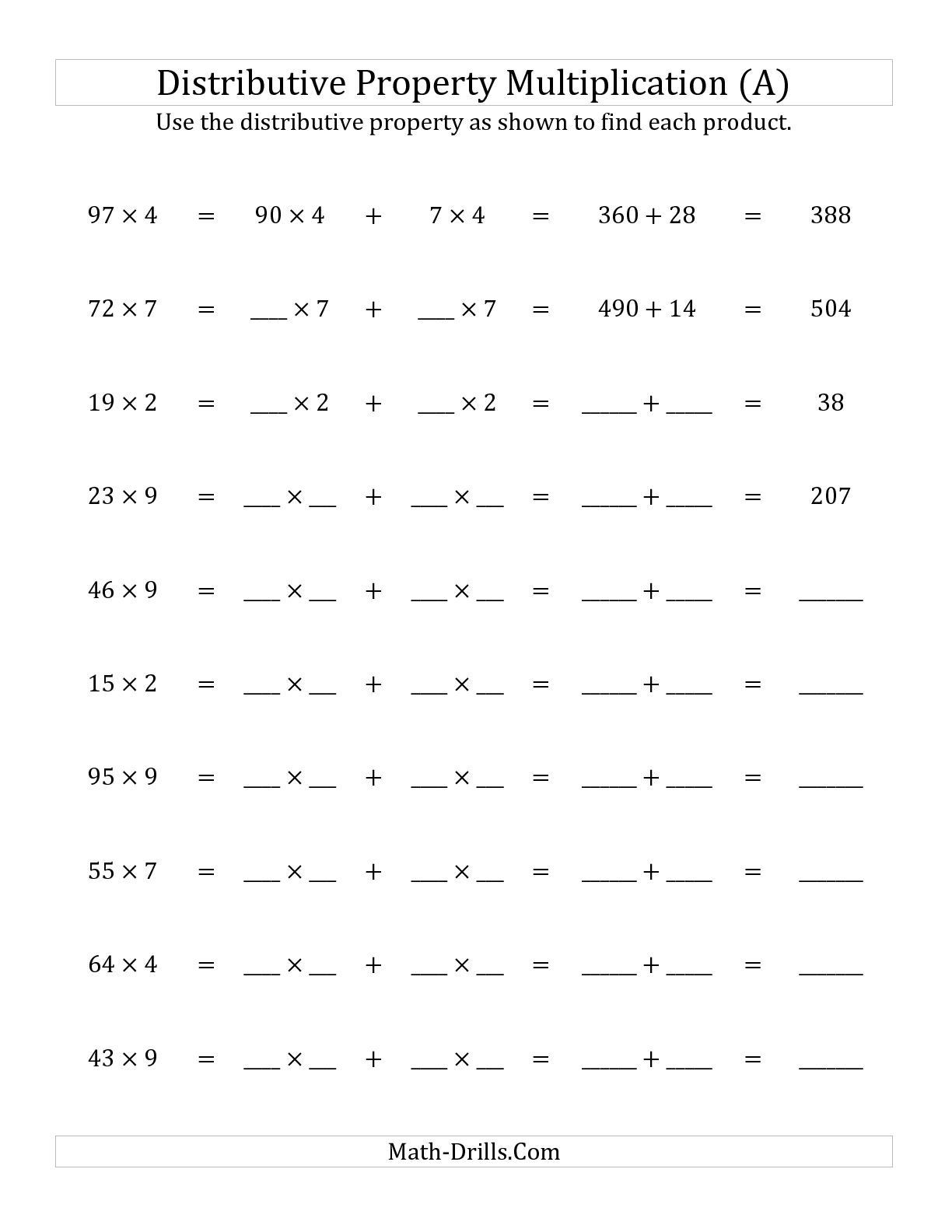 Factoring Distributive Property Worksheet the Multiply 2 Digit by 1 Digit Numbers Using the