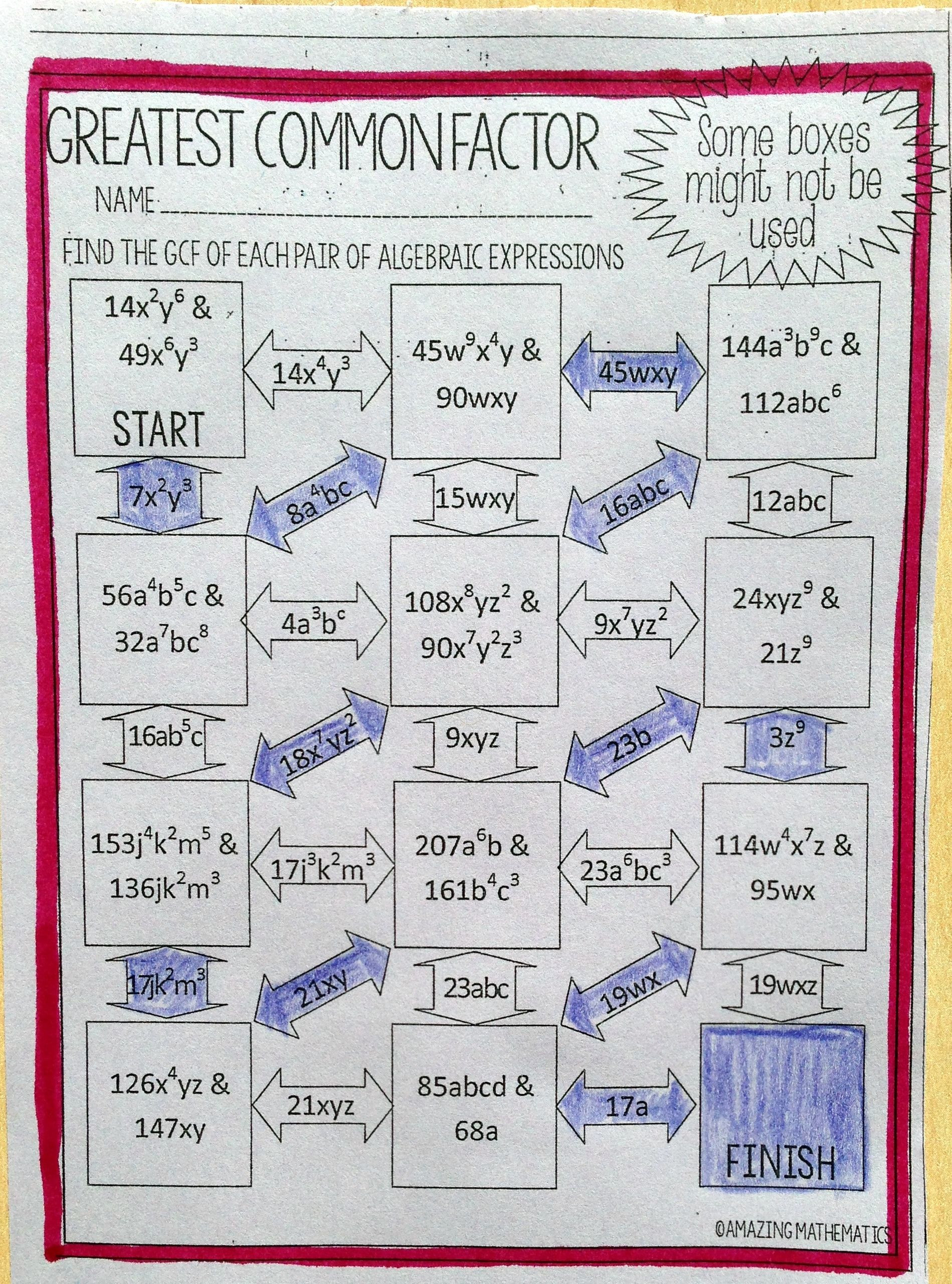 Factoring Greatest Common Factor Worksheet Greatest Mon Factor Of Algebraic Expressions Maze