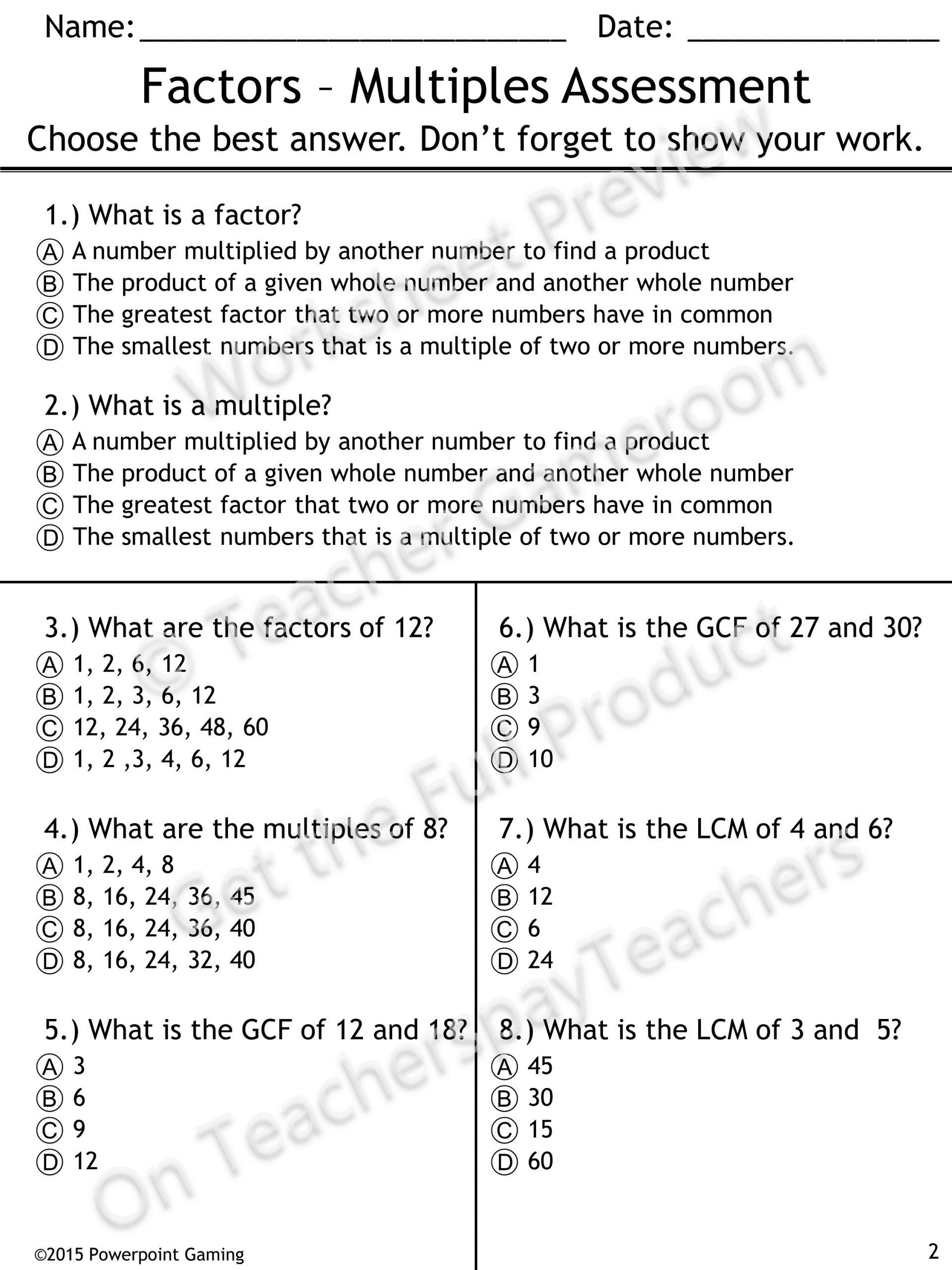 Factoring Greatest Common Factor Worksheet Mon Factors Easy Worksheet