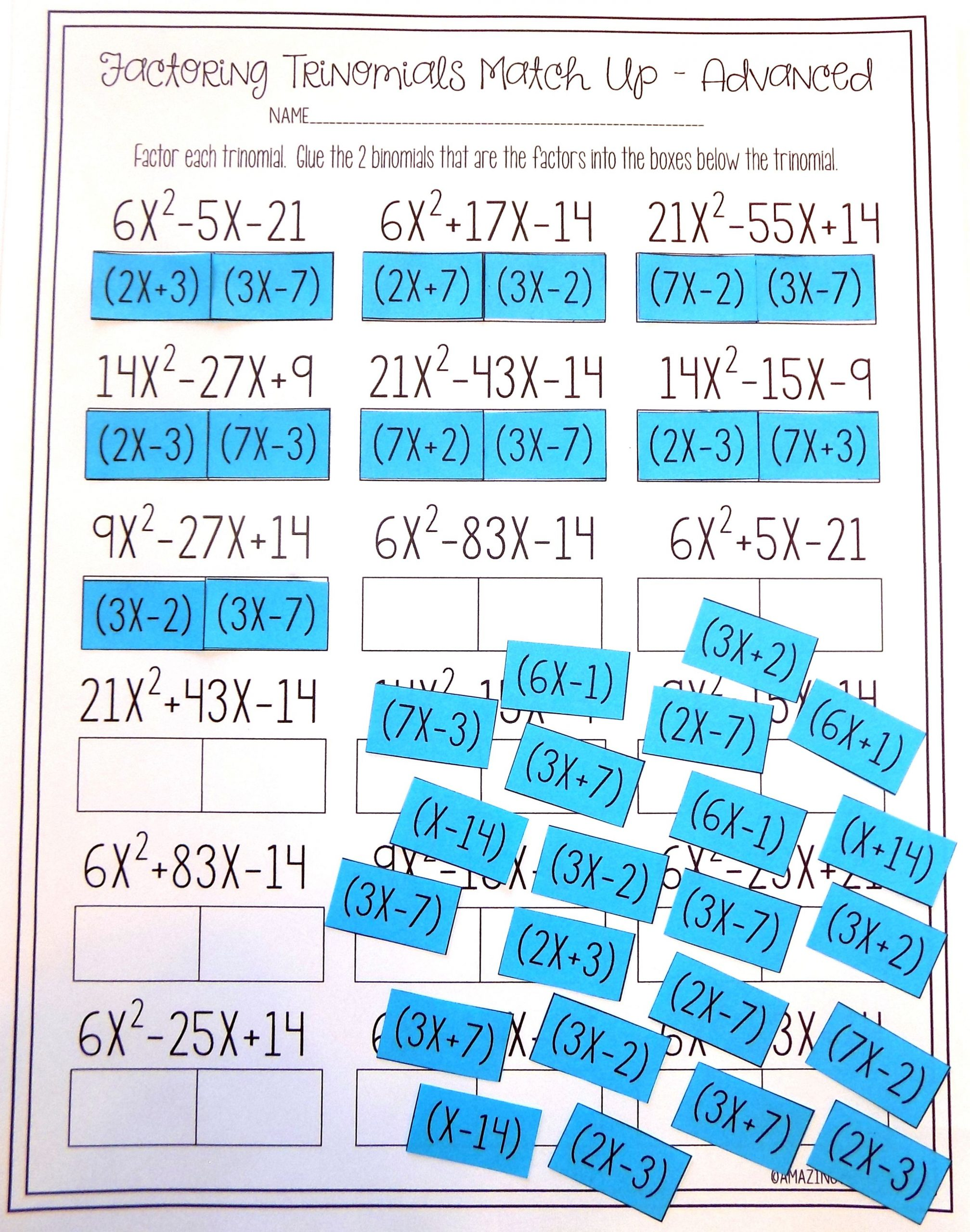 Factoring Trinomials Worksheet Answer Key Factoring Polynomials Trinomials Activity Advanced